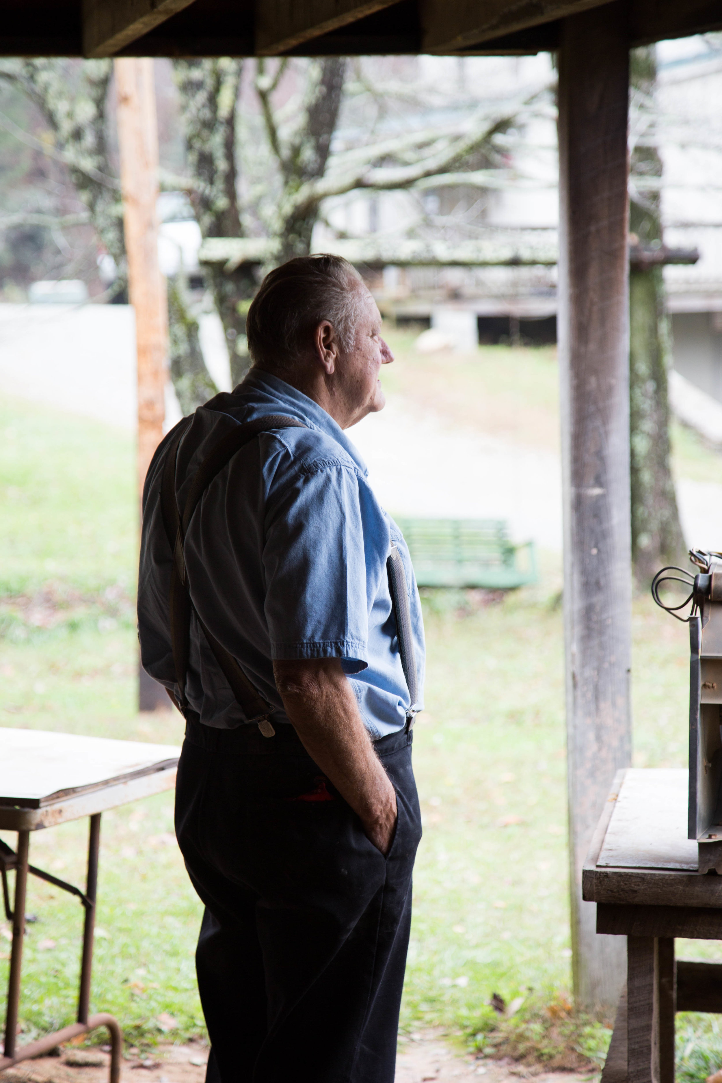 Glenn Bolick surveying the family farm he and Lula purchased in 1973.