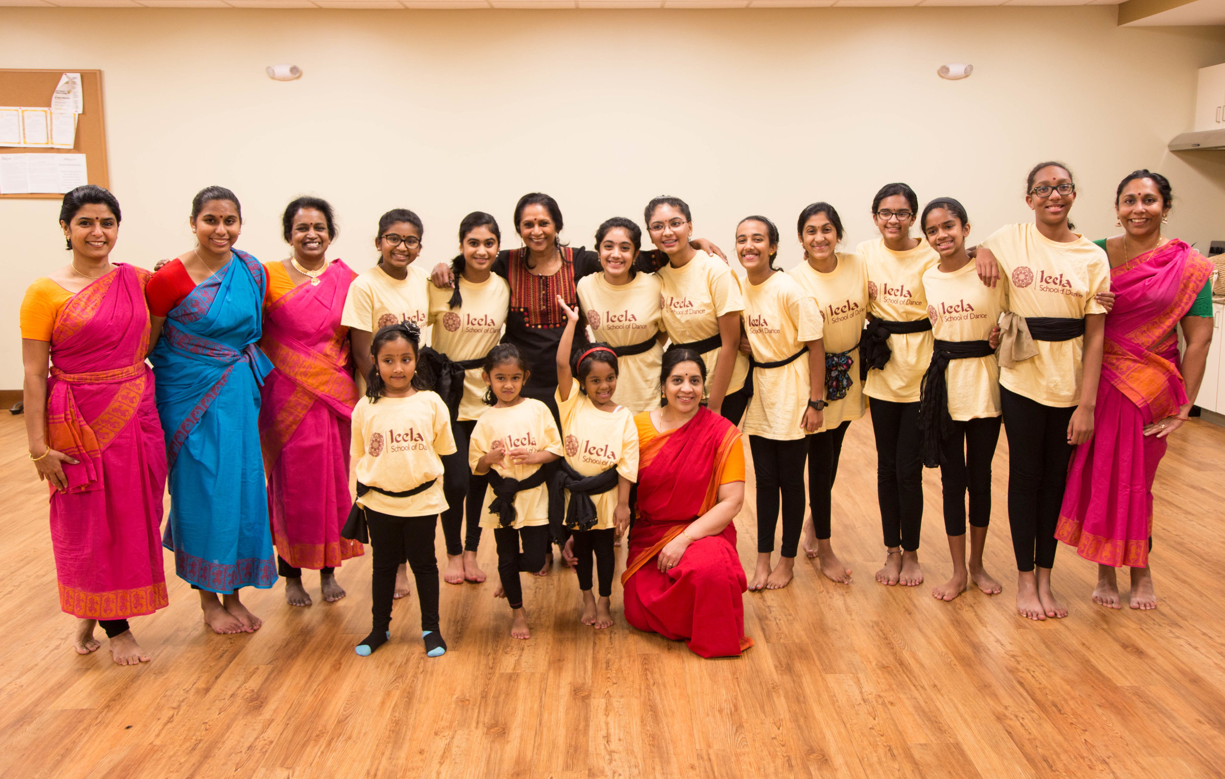 Asha Bala pictured with her students at the Leela School of Dance in Cary.