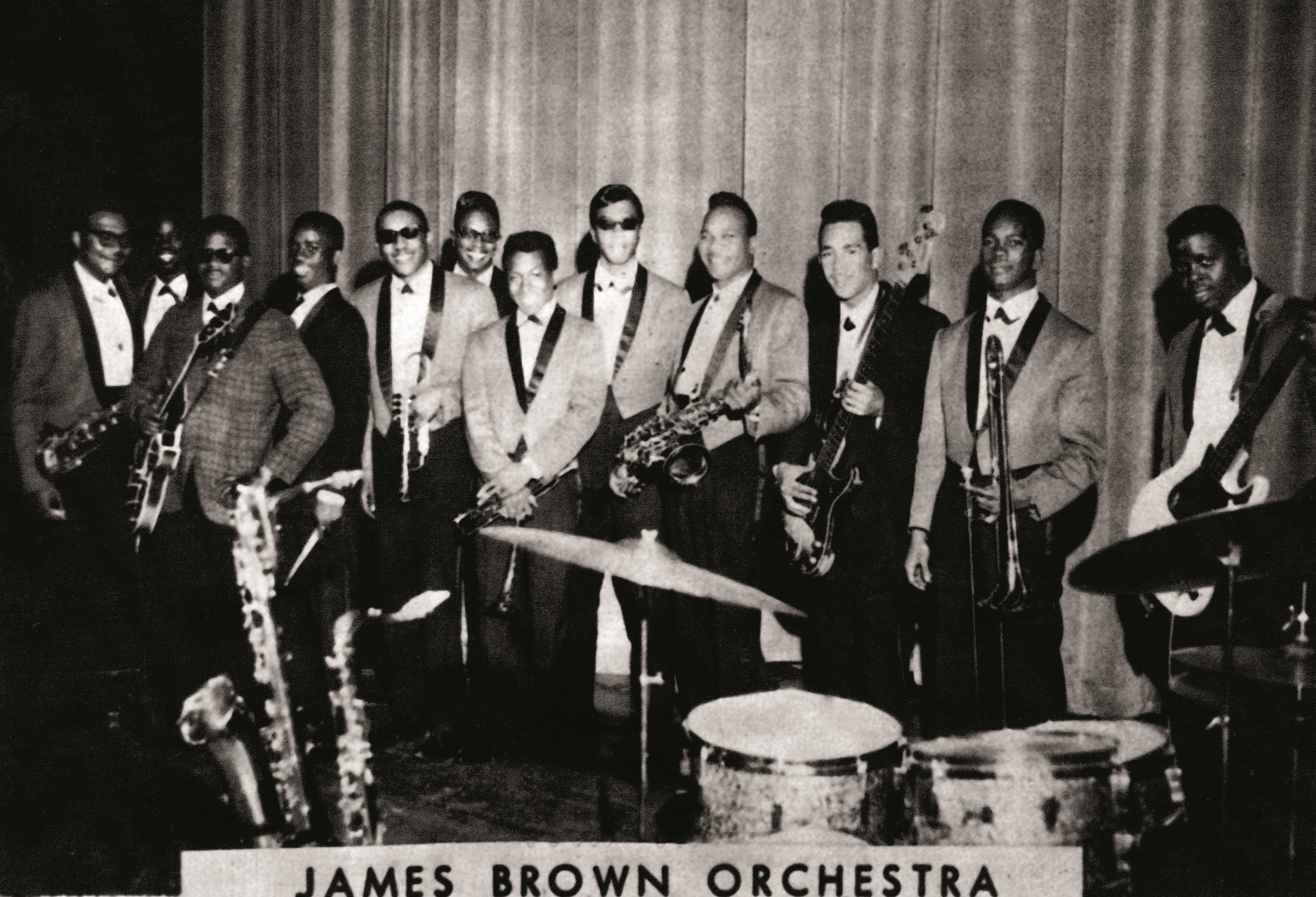 Dick Knight pictured with the James Brown Band