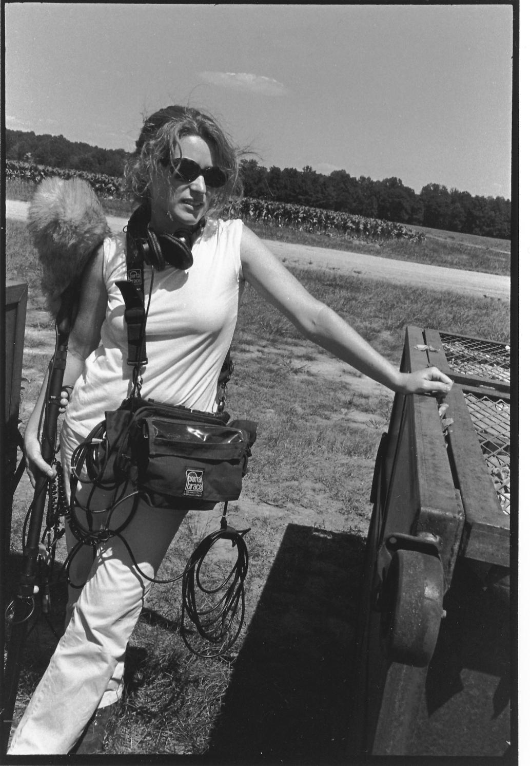 "Cynthia Hill on location for ""tobacco money feeds my family."" Photo by Rob Amberg. 1999."