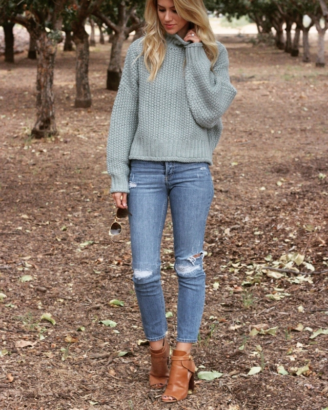 Sweater ( similar )/Jeans (similar  here and  here )/ Booties  (under $100!)/ Sunnies