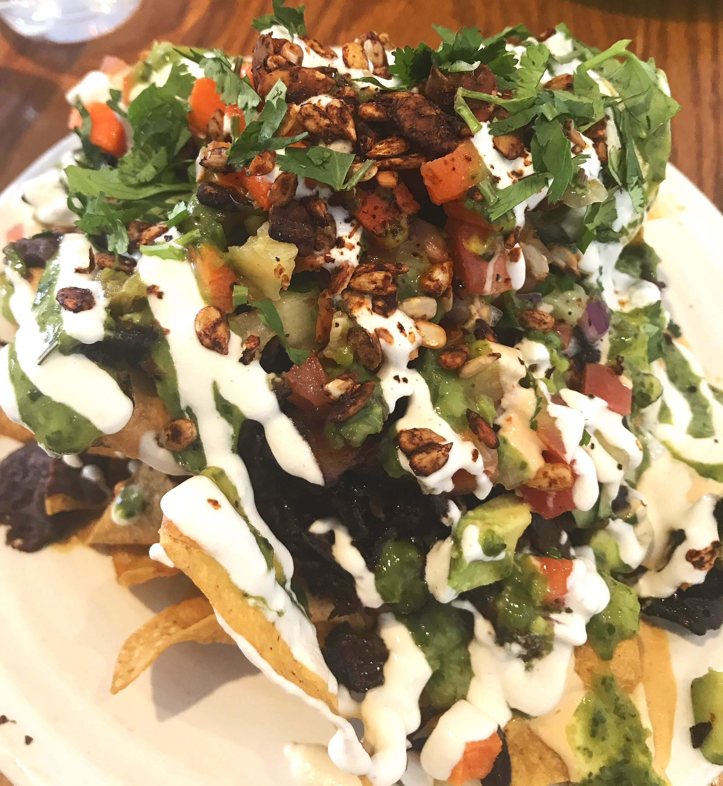 "Cafe Gratitude's ""Sharing""  Nachos and added Mushroom carnitas."