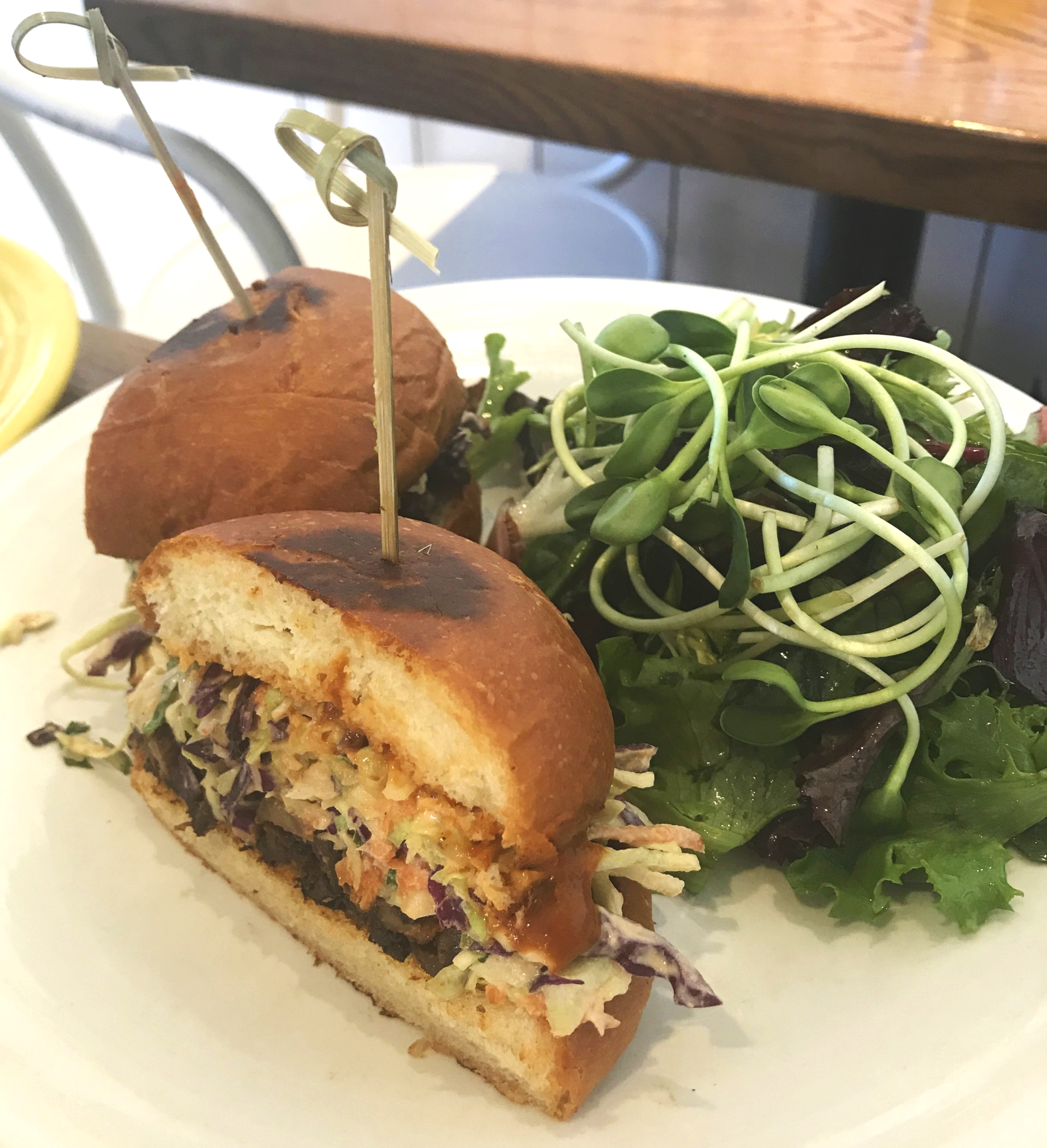 "Cafe Gratitude's ""Committed""  Pulled Mushroom Sandwich. Get the aioli to dip it in- trust me."