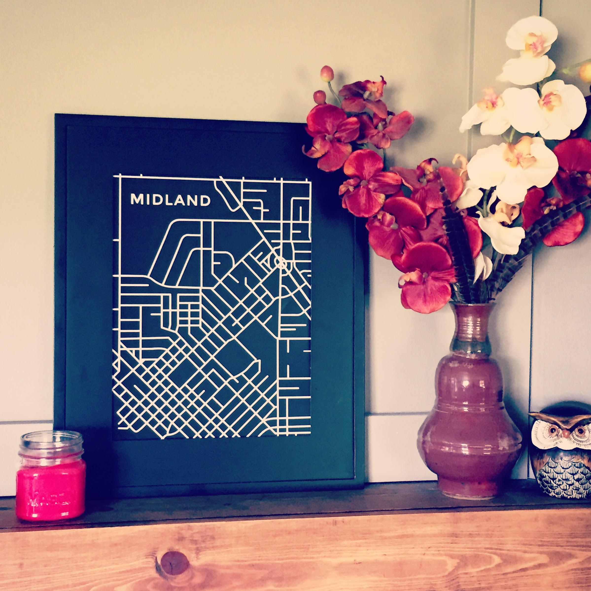 Midland Map, Bringing home Midland print, Art Print, Home decor, Map, Hometown love, Michigan, MI Meet me in midtown, Midland Circle, Uptown Midland