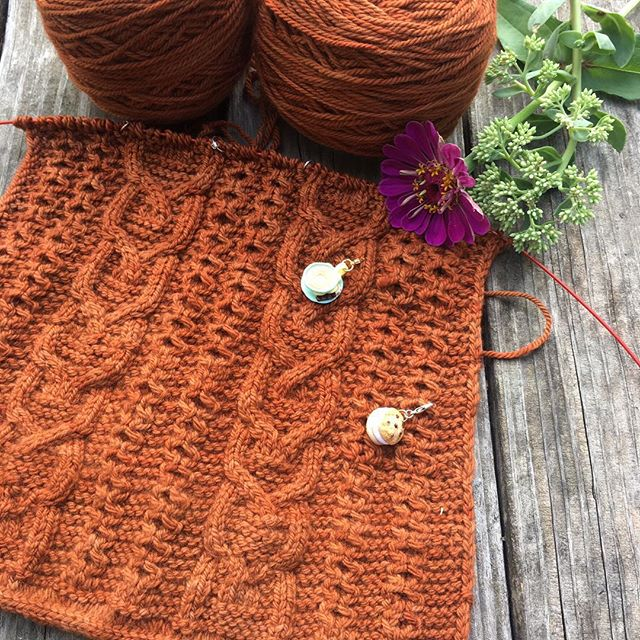 Last year I was working on the back of my pumpkin ale cardigan by @ysolda hoping to finish it up quickly so I can start another sweater! . Stitch markers are from @littlebittydelights  Yarn is @missbabsyarns . #pumpkinalecardigan #fallknitting #fallknits #operationsweaterchest #cables #cableknitting #knittersgonnaknit #knittinglife