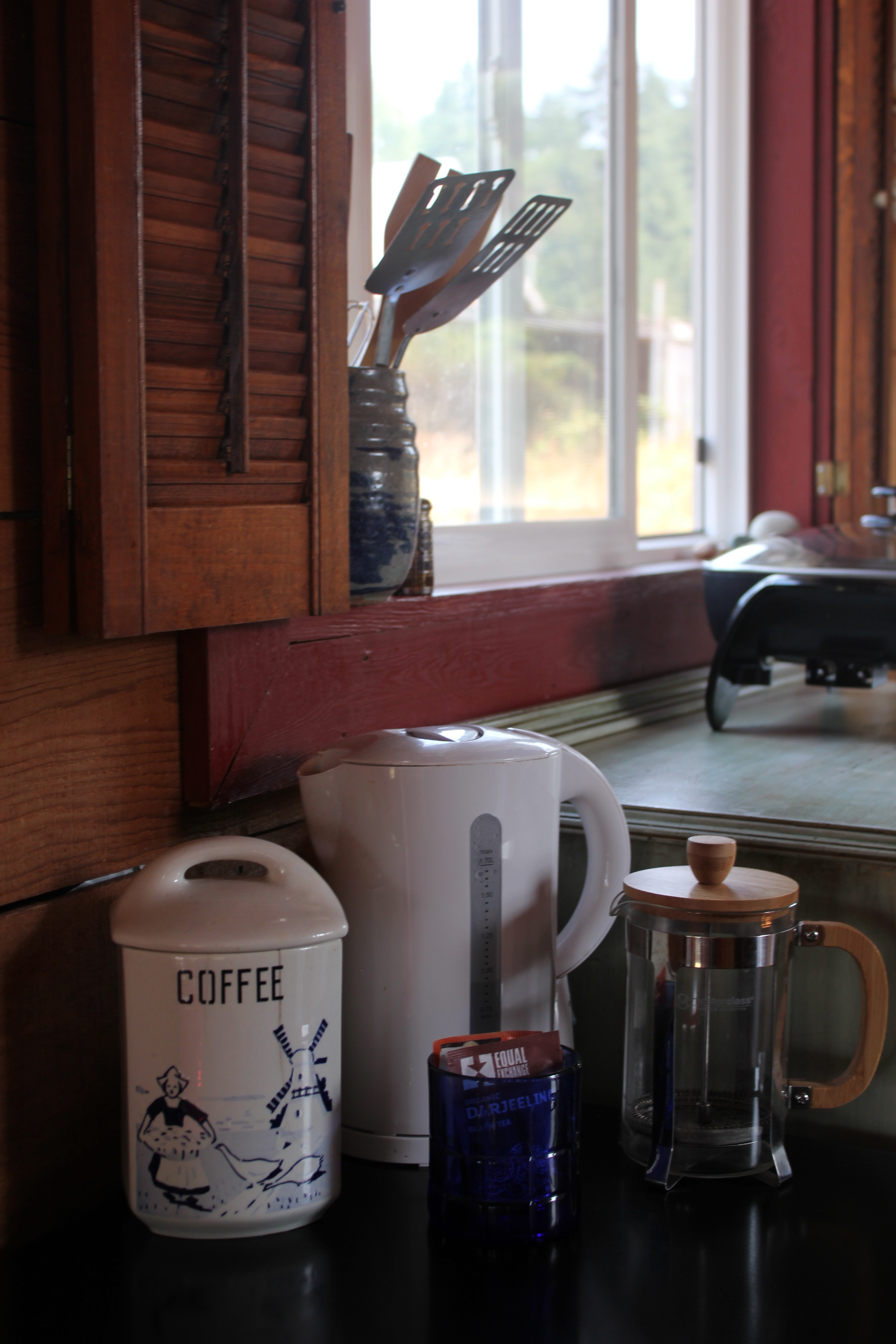 singing frog cabin kitchen coffee area.JPG