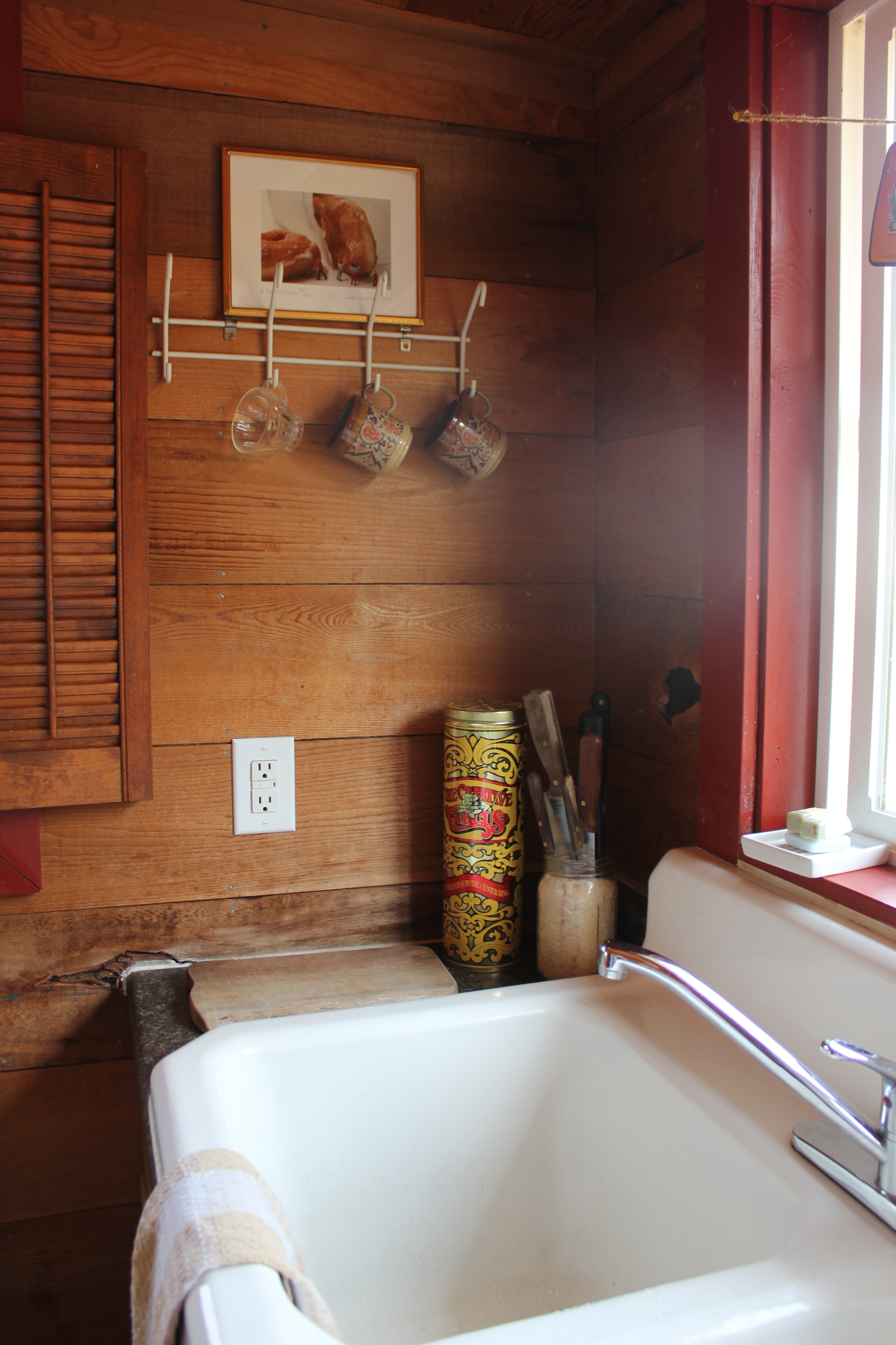 singing frog cabin little rustic kitchen details farm sink.JPG