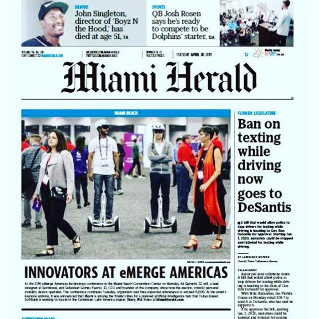 Our lead designer - Ali Qureshi and our CEO - Sebastian Gomez Puerto make the cover of the @miamiherald @emergeamericas #getonit