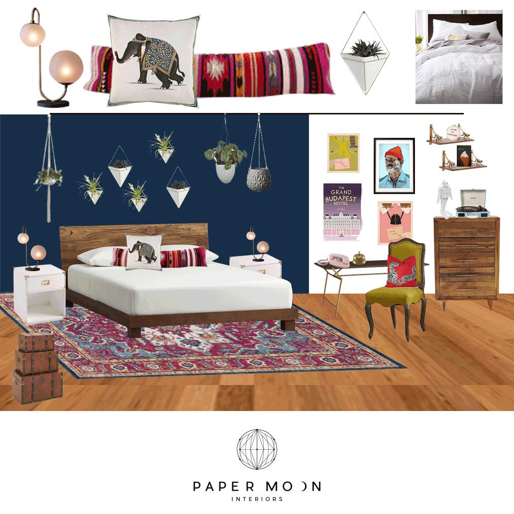 Online Interior Design Services Wes Anderson Contemporary Eclectic Boho Bedroom Los Angeles