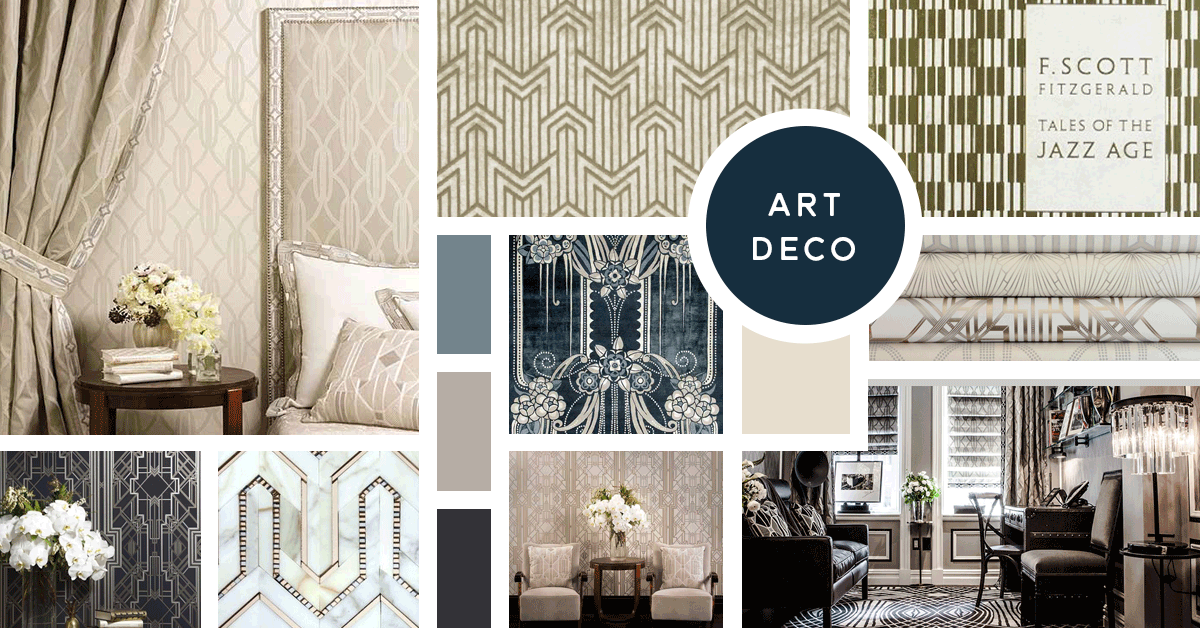 Art Deco Interior Design Style | Sources from top left: Mokum, Mokum, Coralie Bickford Smith, Catherine Martin, Mokum, Mokum, ADKO, Mokum, The Plaza Hotel