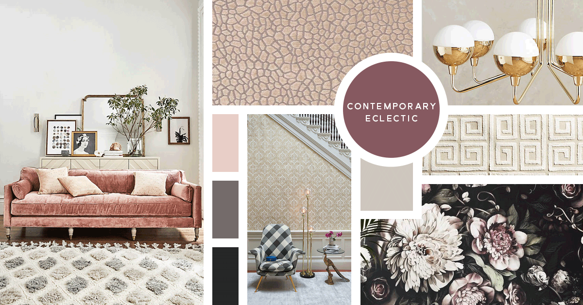 Contemporary Eclectic Interior Design Style | Sources from top left: Anthropologie, Osborne and Little, Anthropologie, Anthropologie, Ellie Cashman