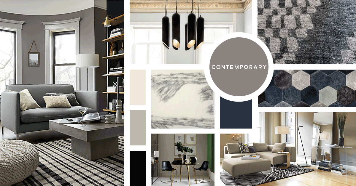 Contemporary Interior Design Style | Sources from top left: CB2, Tom Dixon, West Elm, West Elm, Kyle Bunting, CB2, CB2