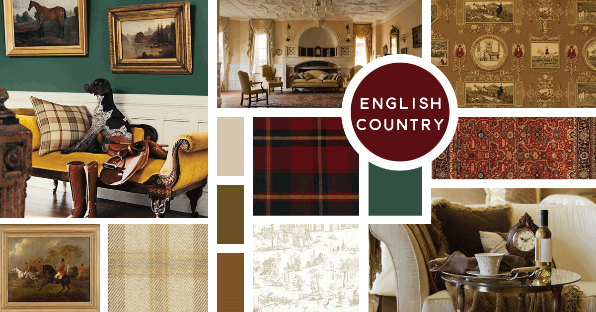 English Country Interior Design Style | Sources from top left: Ralph Lauren Paint, Stock, Kravet, Ralph Lauren Home, Chairish, Kravet, F. Schumacher, Stock