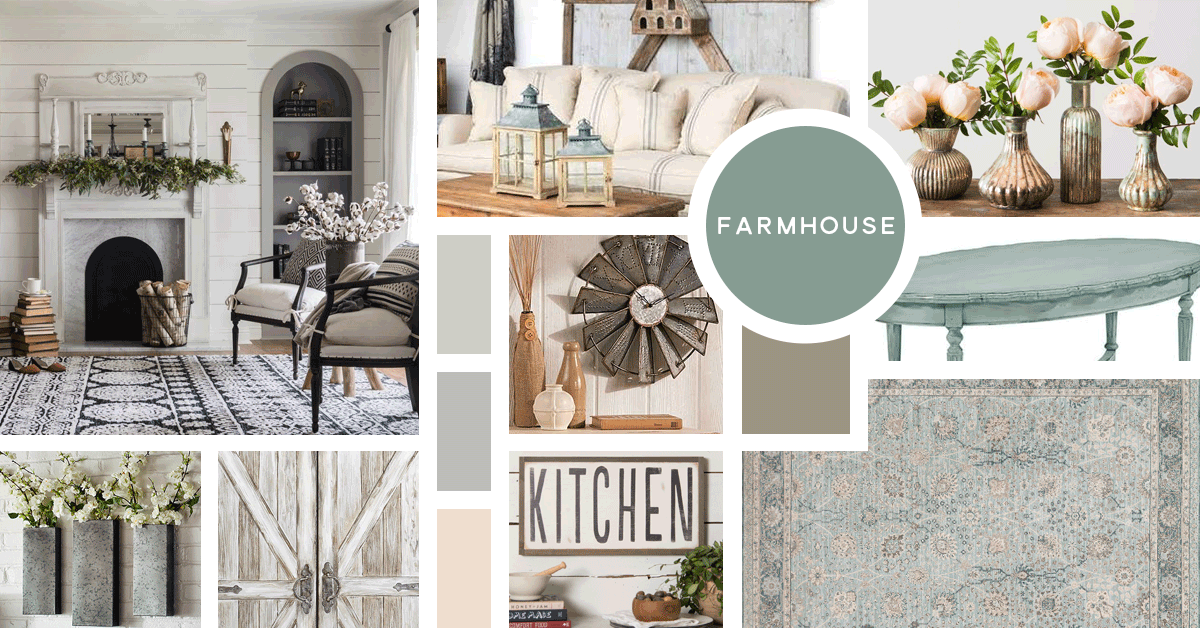 Farmhouse Interior Design Style | Sources from top left: Magnolia Furniture, Iron Accents, Magnolia Market, The Lakeside Collection, Magnolia Furniture, Magnolia Furniture, Pier 1, Magnolia Market, Magnolia Home