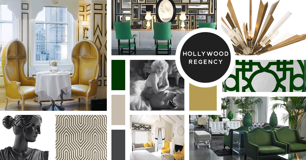 Hollywood Regency Interior Design Style | Sources from top left: Kelly Wearstler, The Viceroy Santa Monica, Kathy Kuo Home, George Hurrell, Kathy Kuo Home, CB2, F. Schumacher, The Avalon Palm Springs, The Viceroy Santa Monica