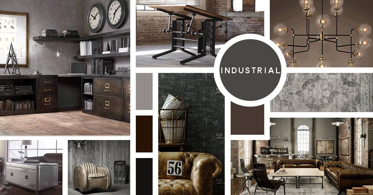 Industrial Interior Design Style | Sources from top left: Restoration Hardware, Campos Iron Works, Restoration Hardware, Andrew Martin, Safavieh, Overstock, Fleming and Howland, Kathy Kuo Home