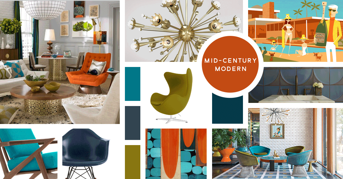 Mid Century Modern Interior Design Style | Sources from top left: Jonathan Adler, Jonathan Adler, Shag, Design Within Reach, Ann Sacks, Joybird, Design Within Reach, Rex Ray, Jonathan Adler