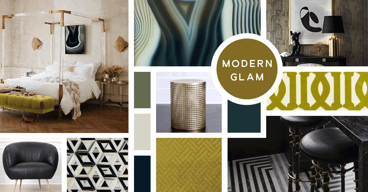 Modern Glam Interior Design Style | Sources from Top Left- Anthropologie, Anthropologie, Groundworks, Kelly Wearstler, F. Schumacher, Kelly Wearstler, Ann Sacks, Osborne and Little, Ann Sacks