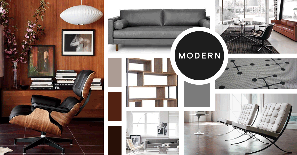 Modern Interior Design Style | Sources from top left- Design Within Reach, Article, Knoll, Overstock, Chairish, Design Within Reach, Knoll