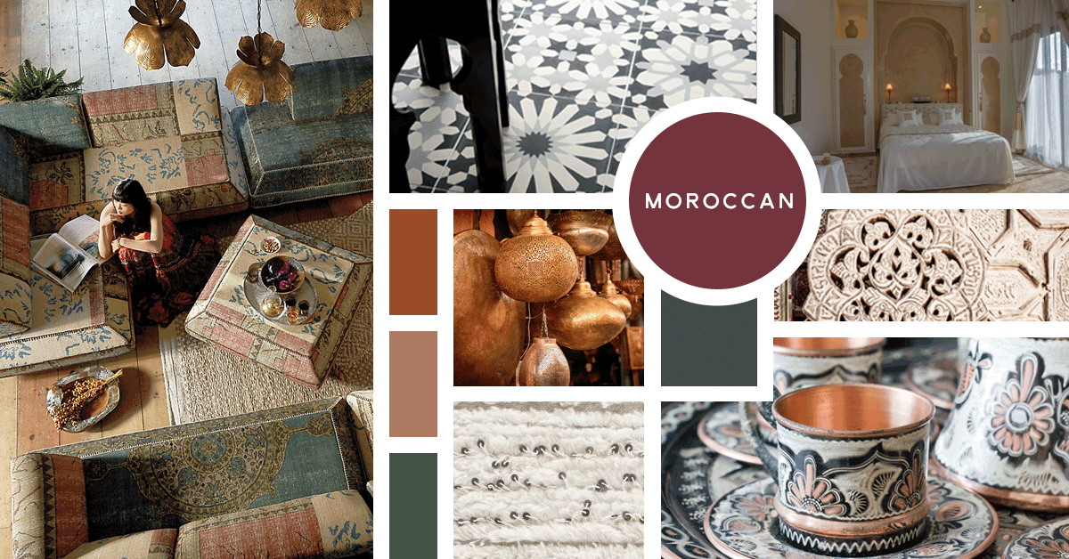 Moroccan Interior Design Style | Sources: Sofas- Anthropologie, Tile Flooring- Ann Sacks, Wedding Blanket- World Market