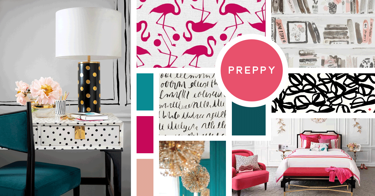 Preppy Interior Design Style | Sources: Flamingos- Penguin Books, Script and Book Wallpaper- Kravet All Others- Kate Spade