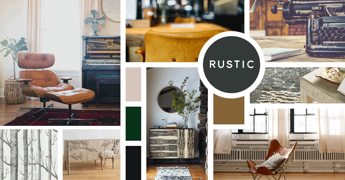 Rustic Interior Design Style | Sources from top left: Stock, Stock, Stock, Cole and Sons, Anthropologie, Anthropologie, Stock