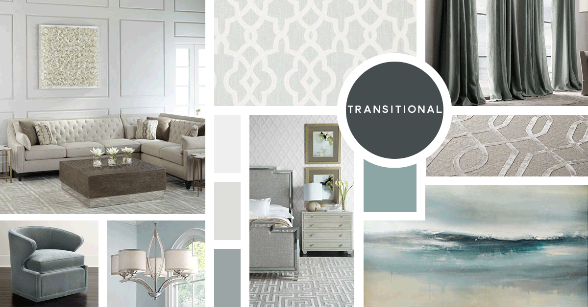 Transitional Interior Design Style | Sources from top left: Horchow, F. Schumacher, Restoration Hardware, Horchow, Horchow, Lamps Plus, Horchow, Z Gallerie