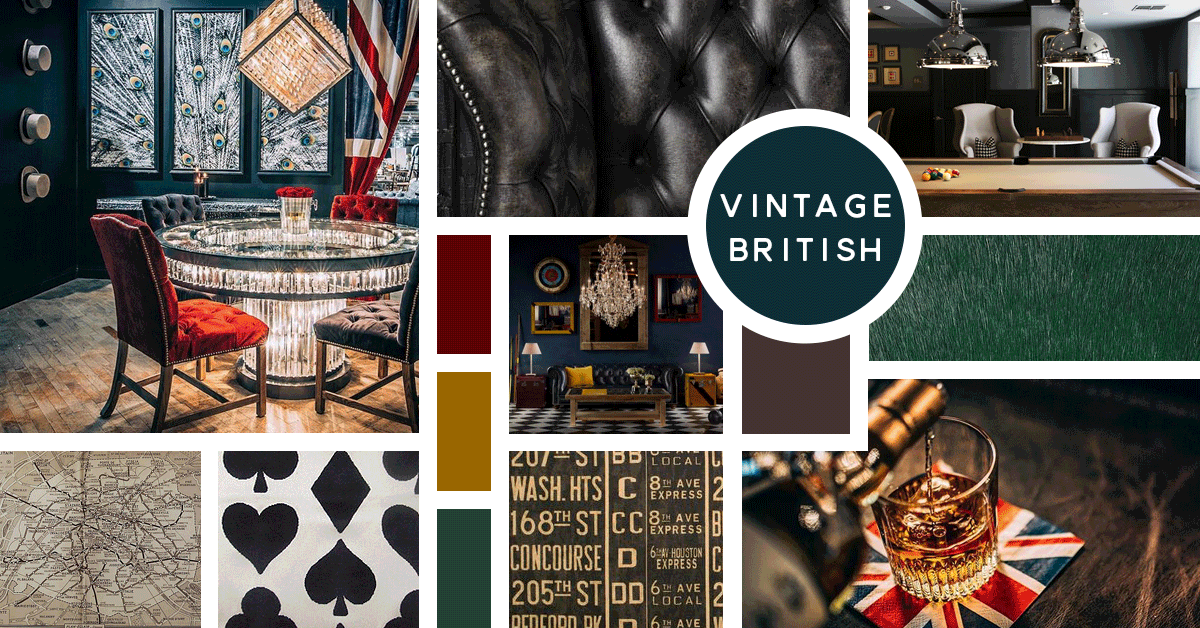 Vintage British Interior Design Style | Sources from Top Left: Timothy Oulton, Fleming & Howland, Stock, Timothy Oulton, Edleman Leather, Restoration Hardware, Andrew Martin, Lee Jofa, Timothy Oulton