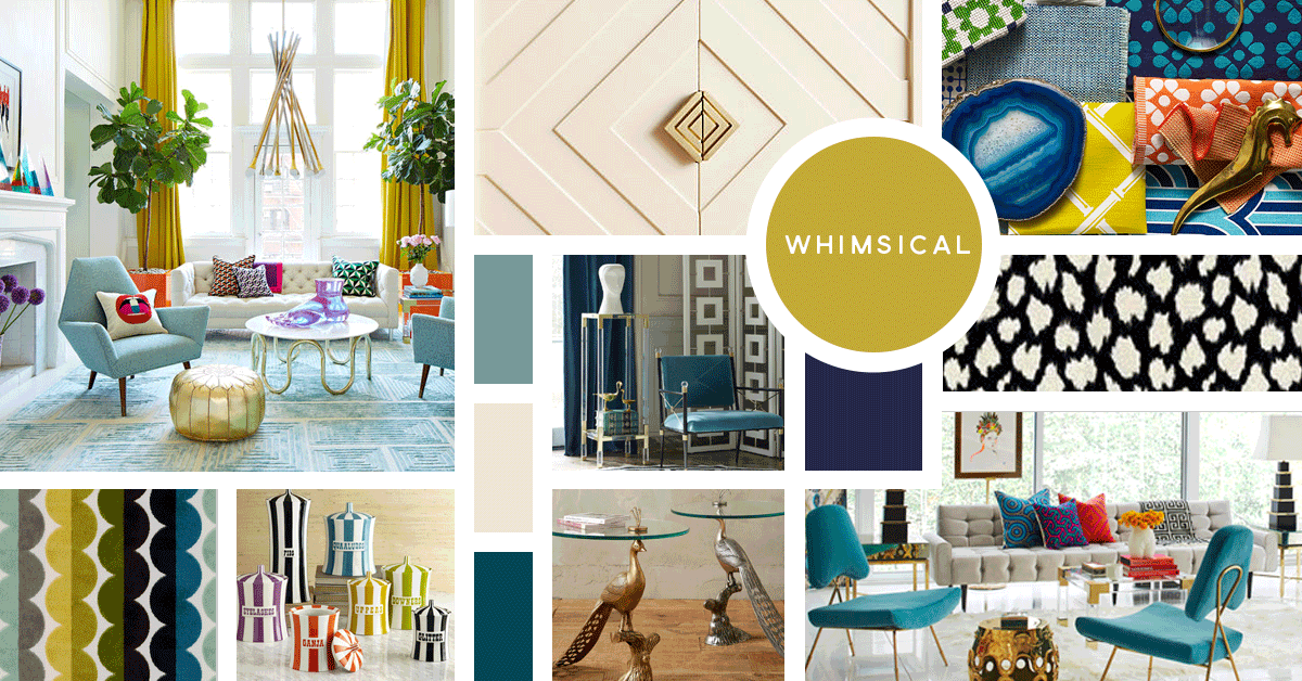 Whimsical Interior Design Style | Sources from top left: Jonathan Adler, Anthropologie, Kravet, Jonathan Adler, Kravet, Kravet, Jonathan Adler, Anthropologie, Jonathan Adler