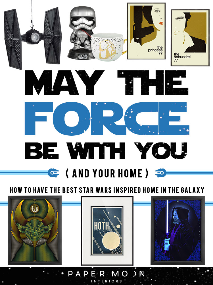 Oh yes!  The Last Jedi  dropped this weekend (I may have seen it twice)! Not that I've been counting down the days since Rogue One hit theaters last year or anything! But seriously, I love all things from a long time ago in a galaxy far far away, and thought it would be fun to show how to decorate a Star Wars inspired home without looking like a teenager. Let's have some fun and get the Force running through your space!