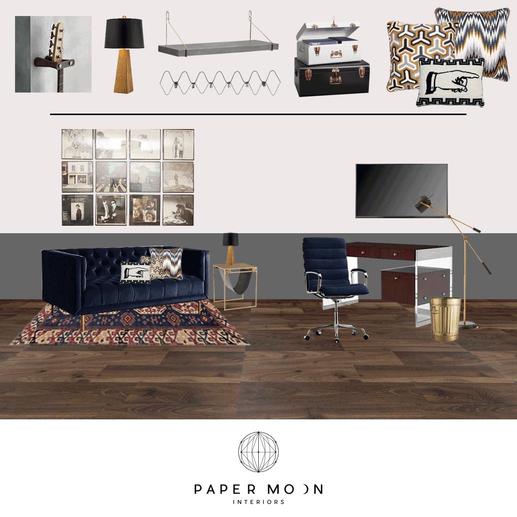 Dallas Home Office Interior Design Inspiration | Modern Vintage Home Office Recording Studio Online Interior Design Services