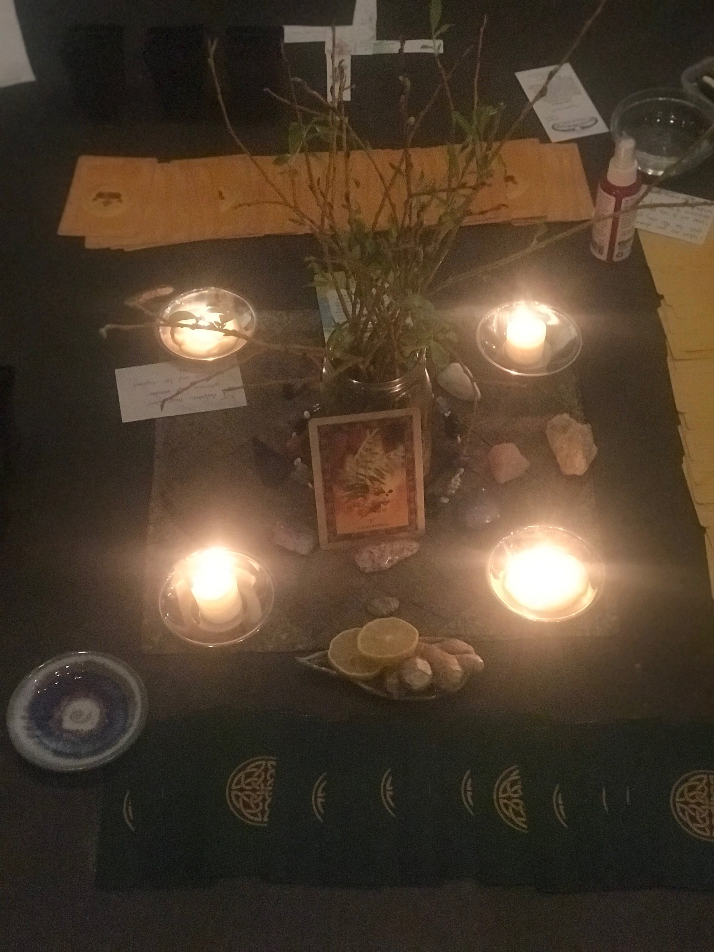 New Moon Altar - Our altar at this month's New Moon Red Tent Circle at Fettle Botanic in Bend.