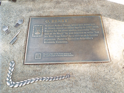 Plaque on the Urban Trail on Patton Avenue commemorating O. Henry