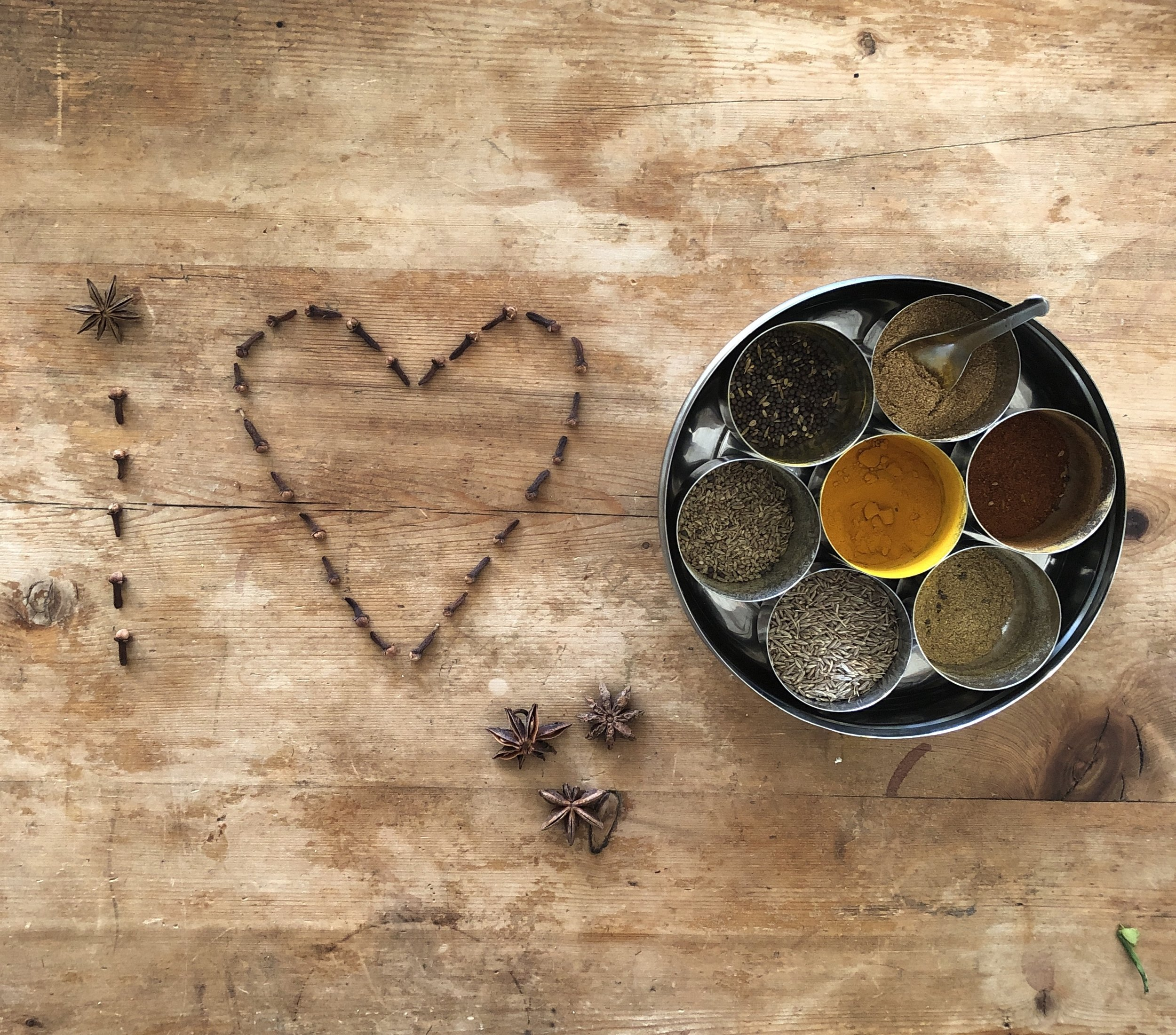 At home with my Indian spice box.