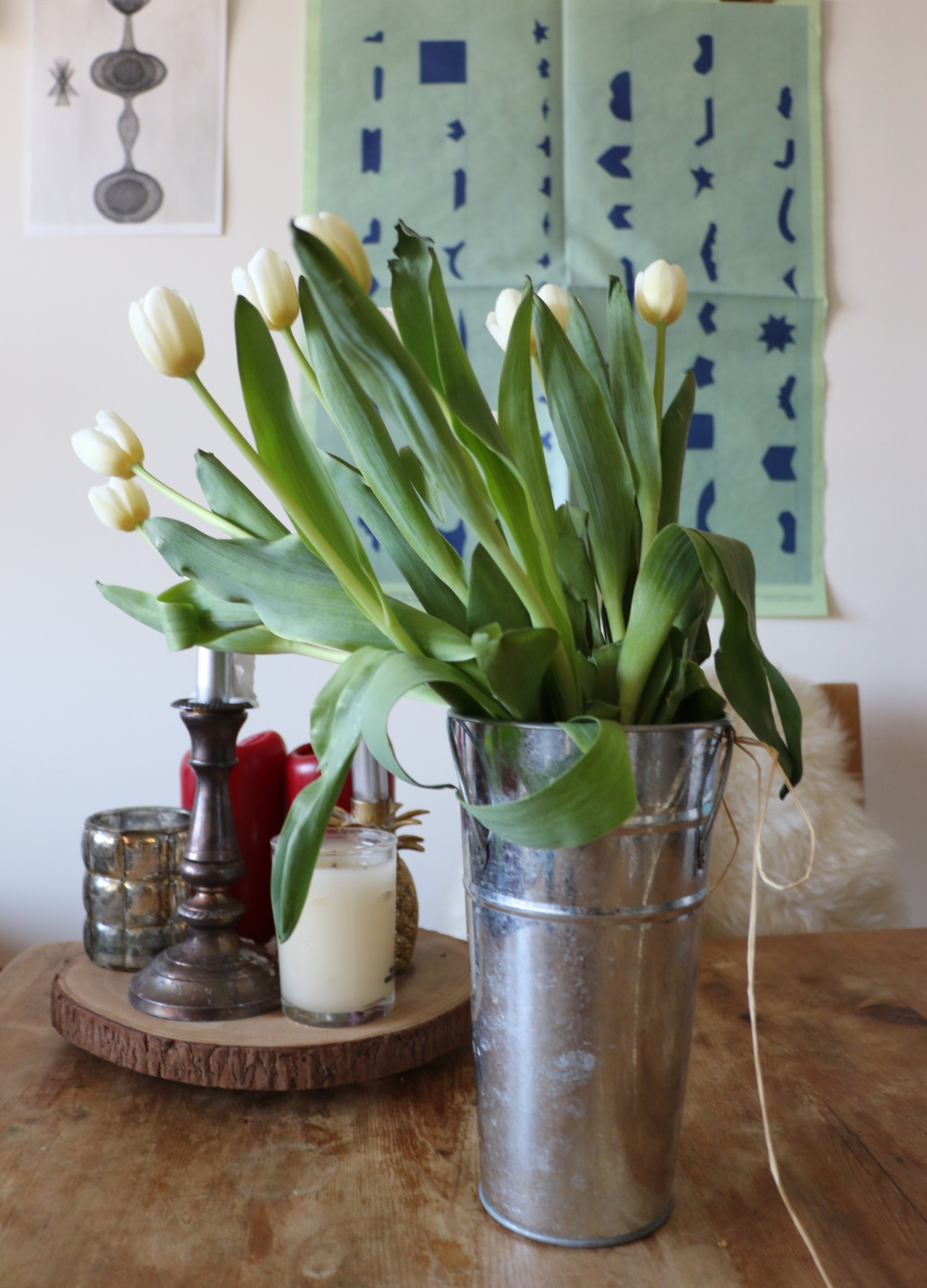 Fresh cut tulips on my dining room table.