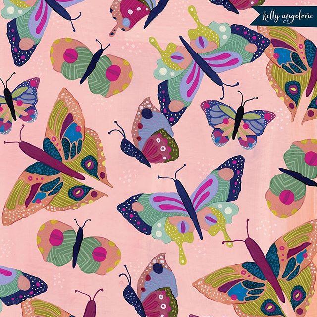 Painted butterflies in my studio today. . . . #butterflies #gouache #surfacepattern #kellyangelovic #jennifernelsonartists