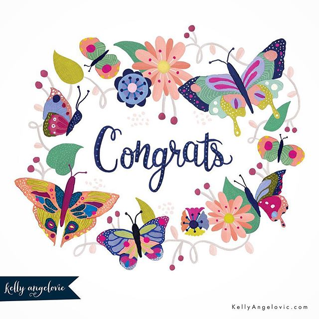 You made it. Happy Friday!! #congratulations #congrats #butterflies #kellyangelovic #jennifernelsonartists #dowhatyoulove #surfacedesign #artistsofinstagram #lettering #l