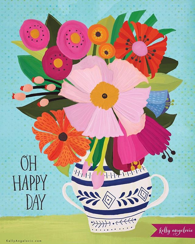 Happy Friday. It's your day! . . . #ohhappyday #bouquet #iloveflowers #handlettering #kellyangelovic #jennifernelsonartists #dowhatyoulove #surfacedesign #surfacepattern #artistsofinstagram #womenwhodraw