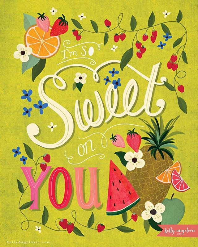 You are oh so juicy and delicious. . . . #summer #fruit #fruitsalad #lettering #handlettering #kellyangelovic #jennifernelsonartists #dowhatyoulove #surfacedesign #surfacepattern #artistsofinstagram