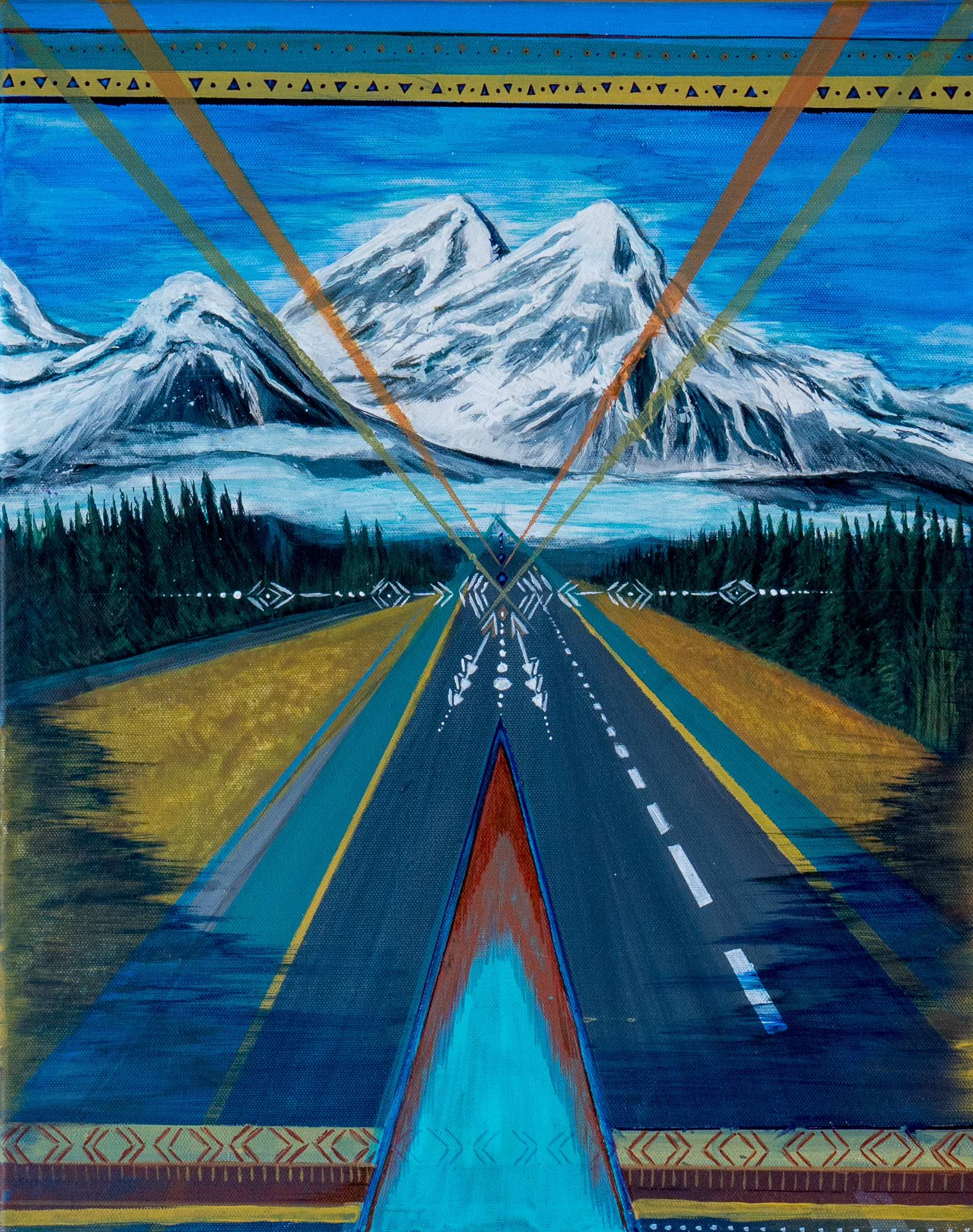 """SOLD    >> The Mountains are Calling <<   16"""" x 20"""" Acrylic Painting on canvas 2015. © Kvanraay Designs 2018.  For Sale. For more information go to   shop."""