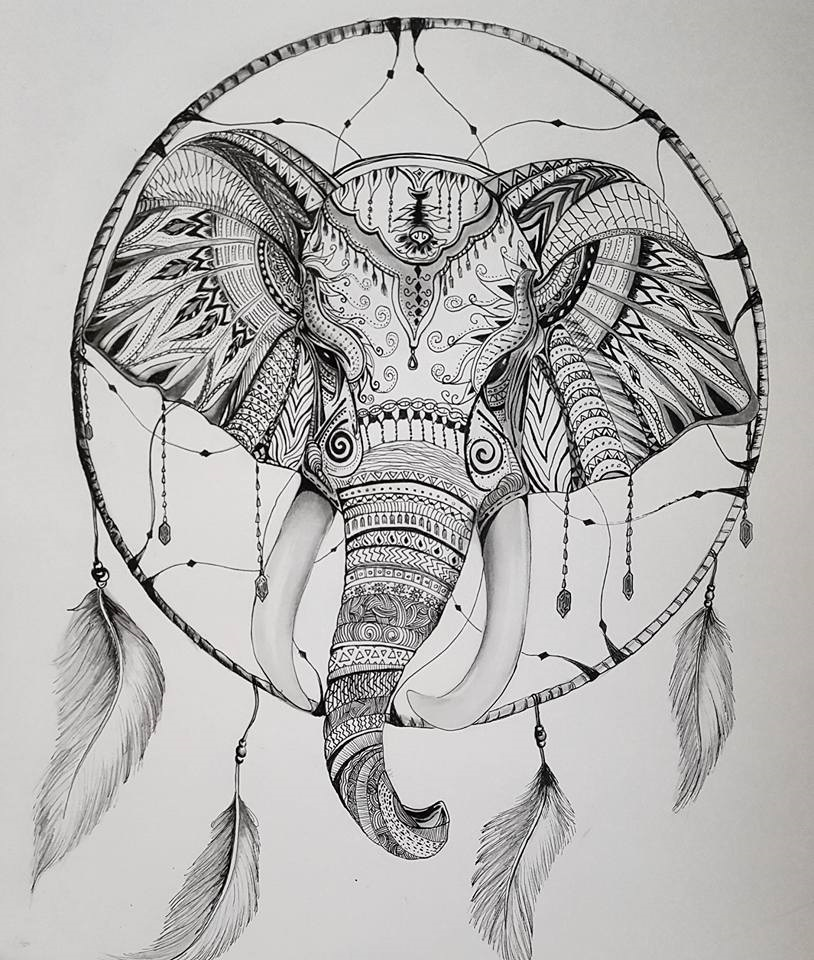"""SOLD    Elephant Dreams   14"""" x 17"""" pen drawing 2017. © Kvanraay Designs 2017.  For Sale. For more information go to   Shop."""