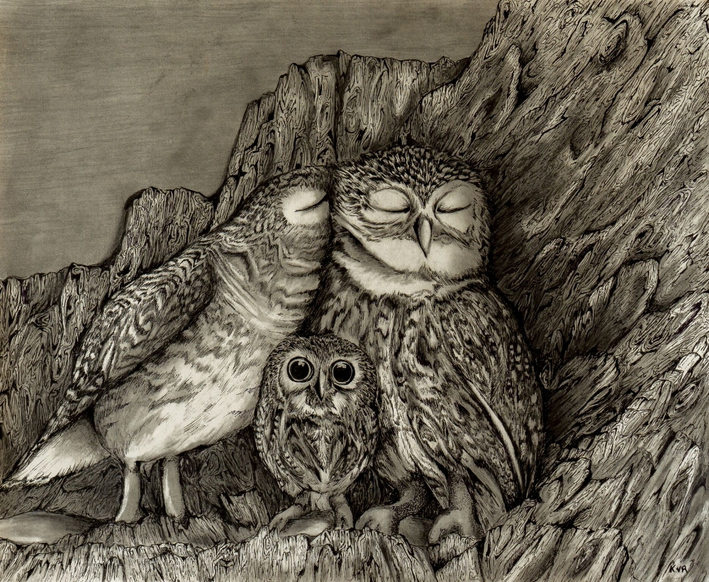 """SOLD    Family   14"""" x 17"""" pen and pencil drawing 2015.© Kvanraay Designs 2017.  For sale. For more information go to   shop."""