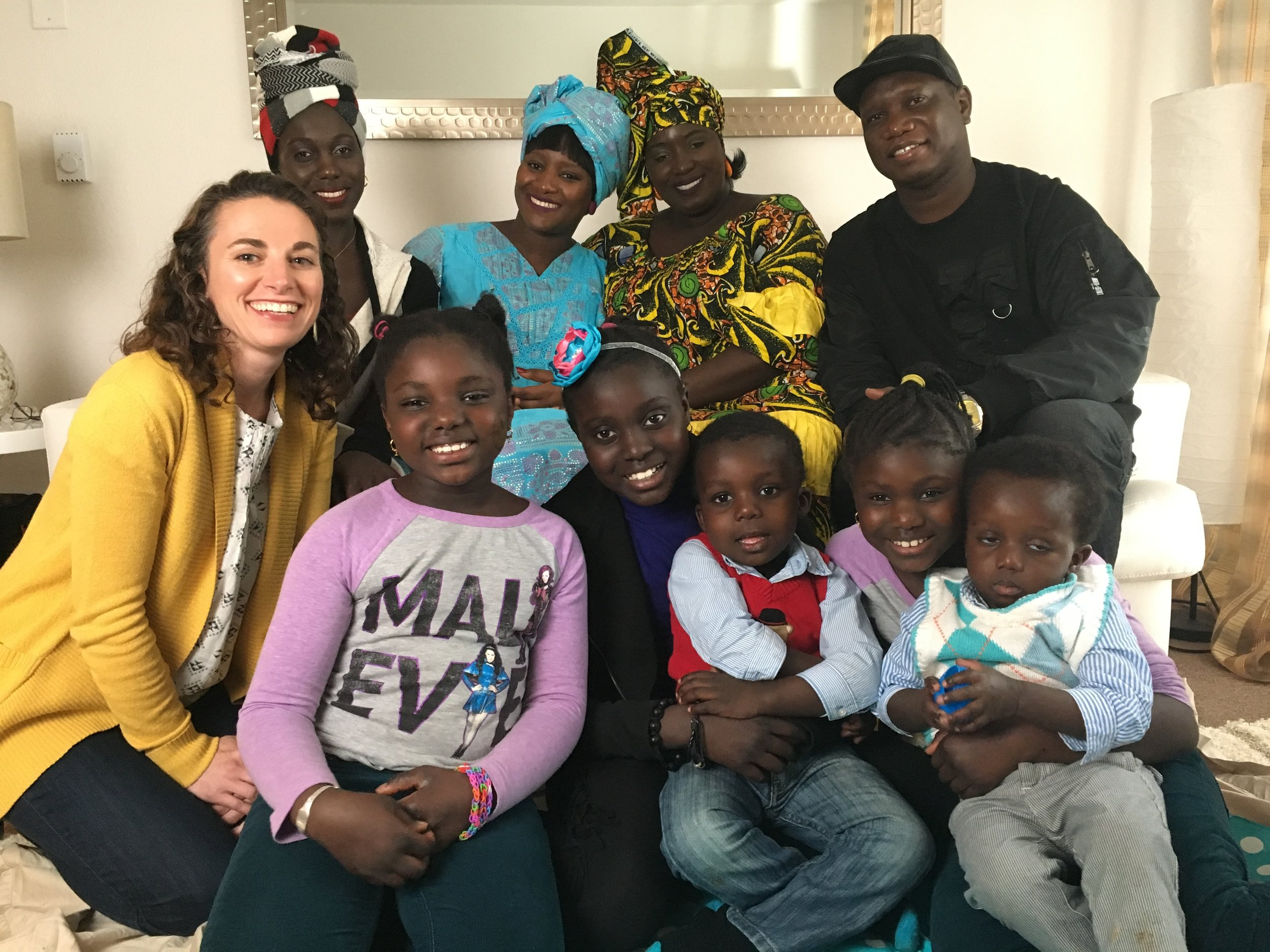 Aimie with Isatou's extended family