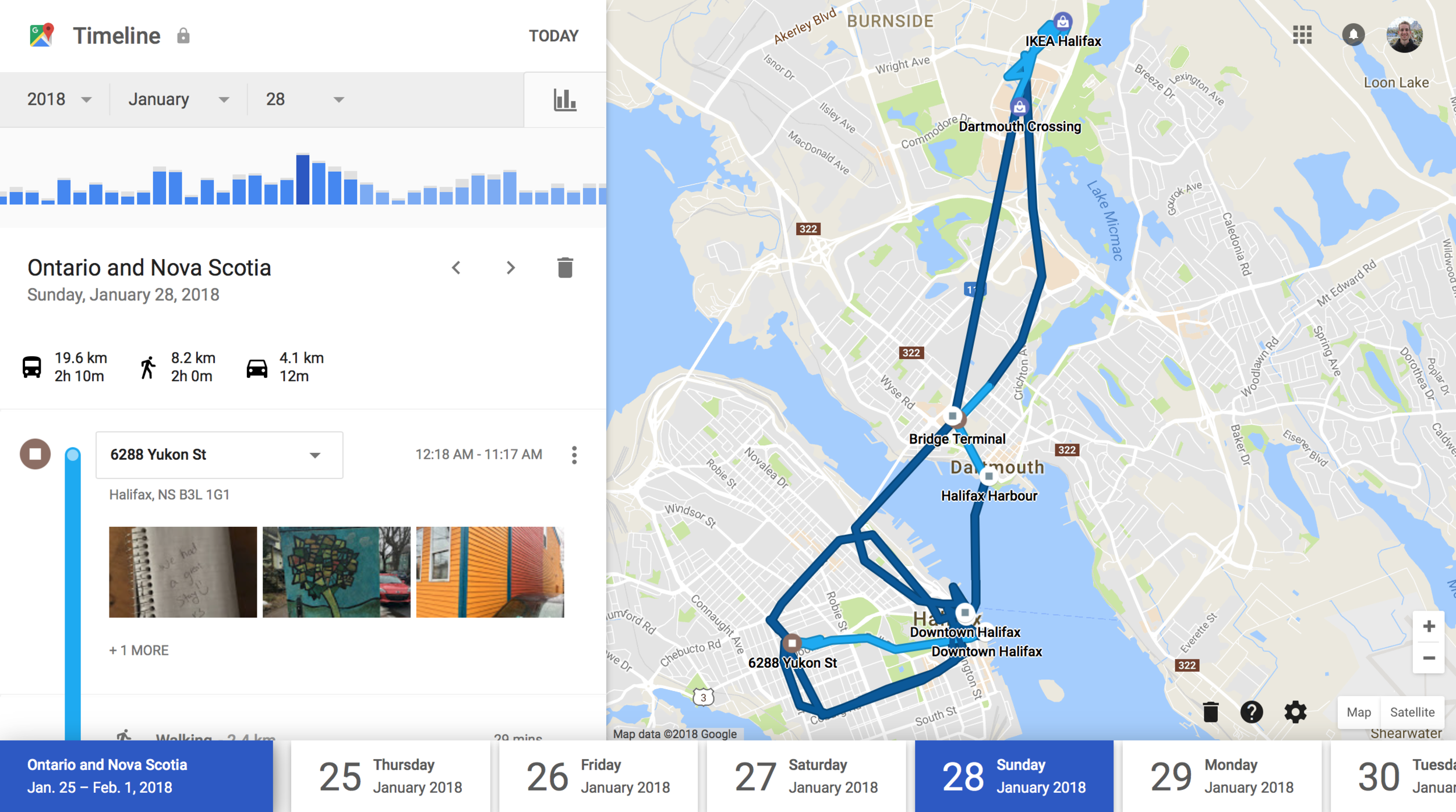 With the Google Maps app downloaded and location services enabled, the company tracked my every move on a recent trip to Halifax, including whether I walked, took the bus or a vehicle between each location.