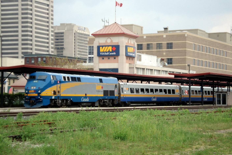 A VIA Rail train stopped at London station, a main interchange on the Sarnia-Toronto and Windsor-Toronto lines.