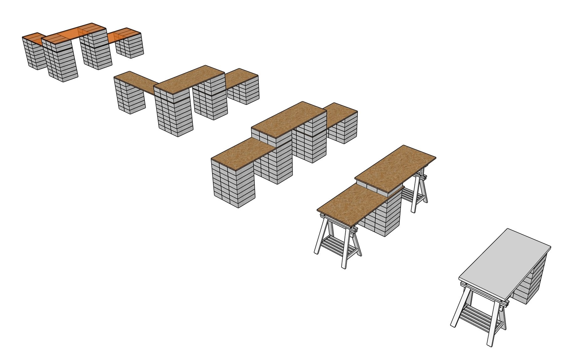 CAD image showing the breakdown of each of the furniture elements, how they would be assembled and what material matches with which piece.