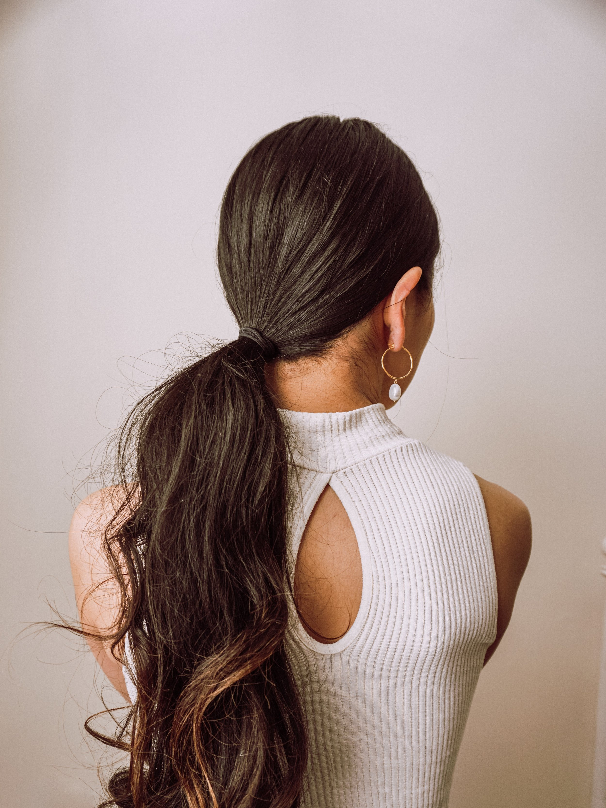 1: Make a ponytail - It works with either high or low ponytail