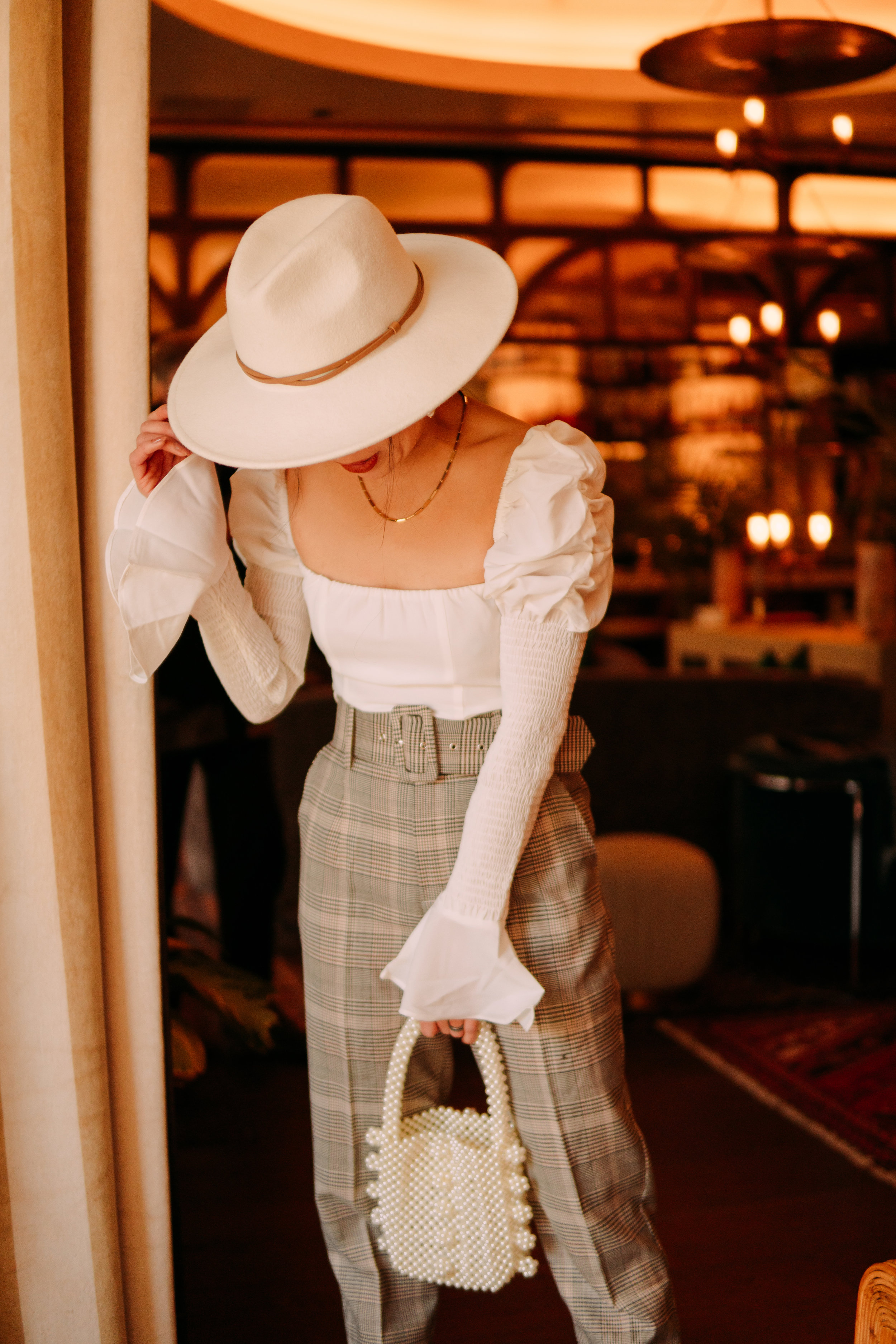 2: Bohemian + 3: Lady Chic - What's bohemian? - Big hat. What's Lady Chic? - Juliet style top, pearl purse, and pointed toe pumps.