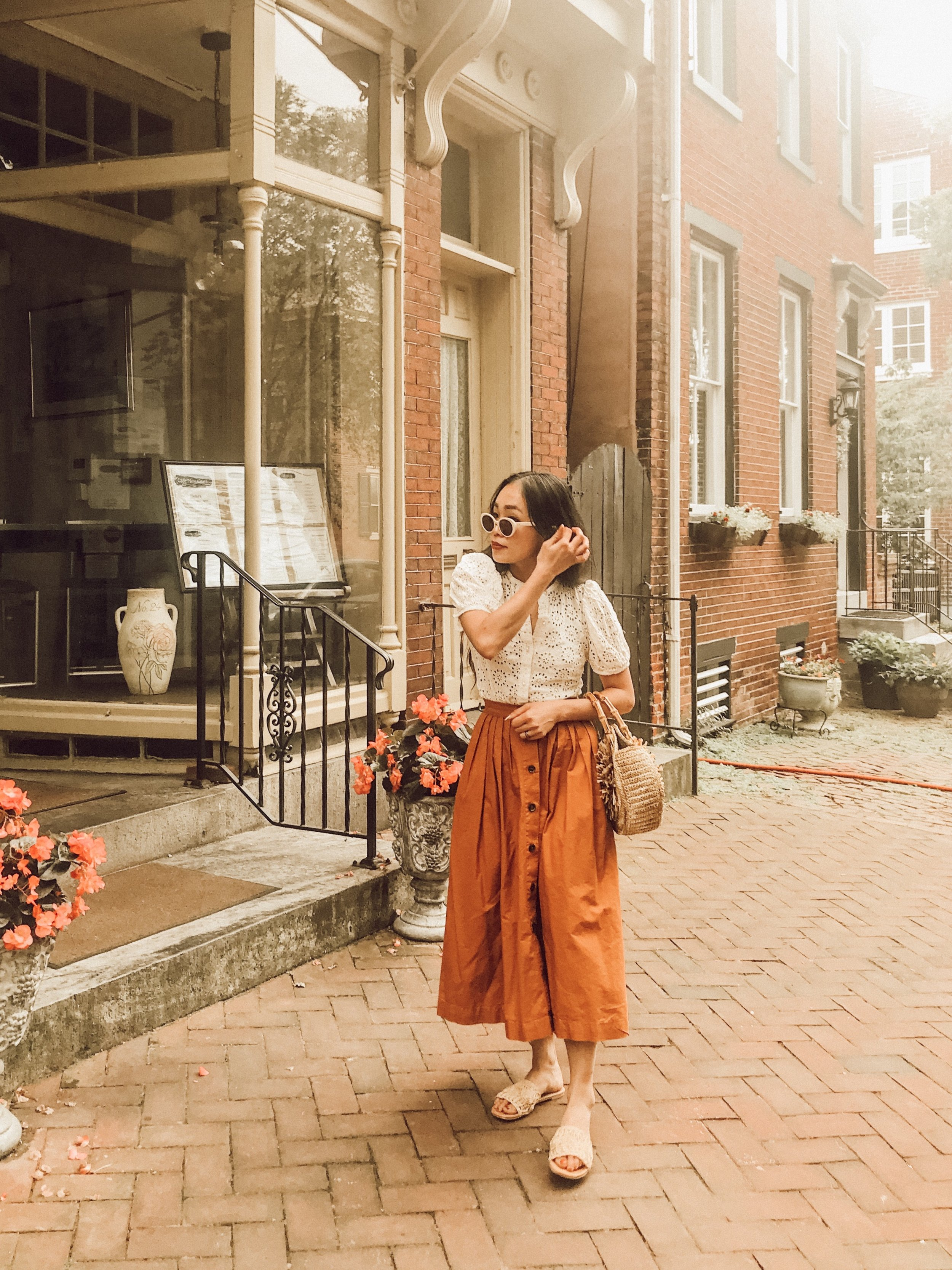 Day 2: The 40's Vibe - Straw items with vintage puffy sleeve blouse and A-line skirt. Doesn't this outfit look like it's from some old country movies?
