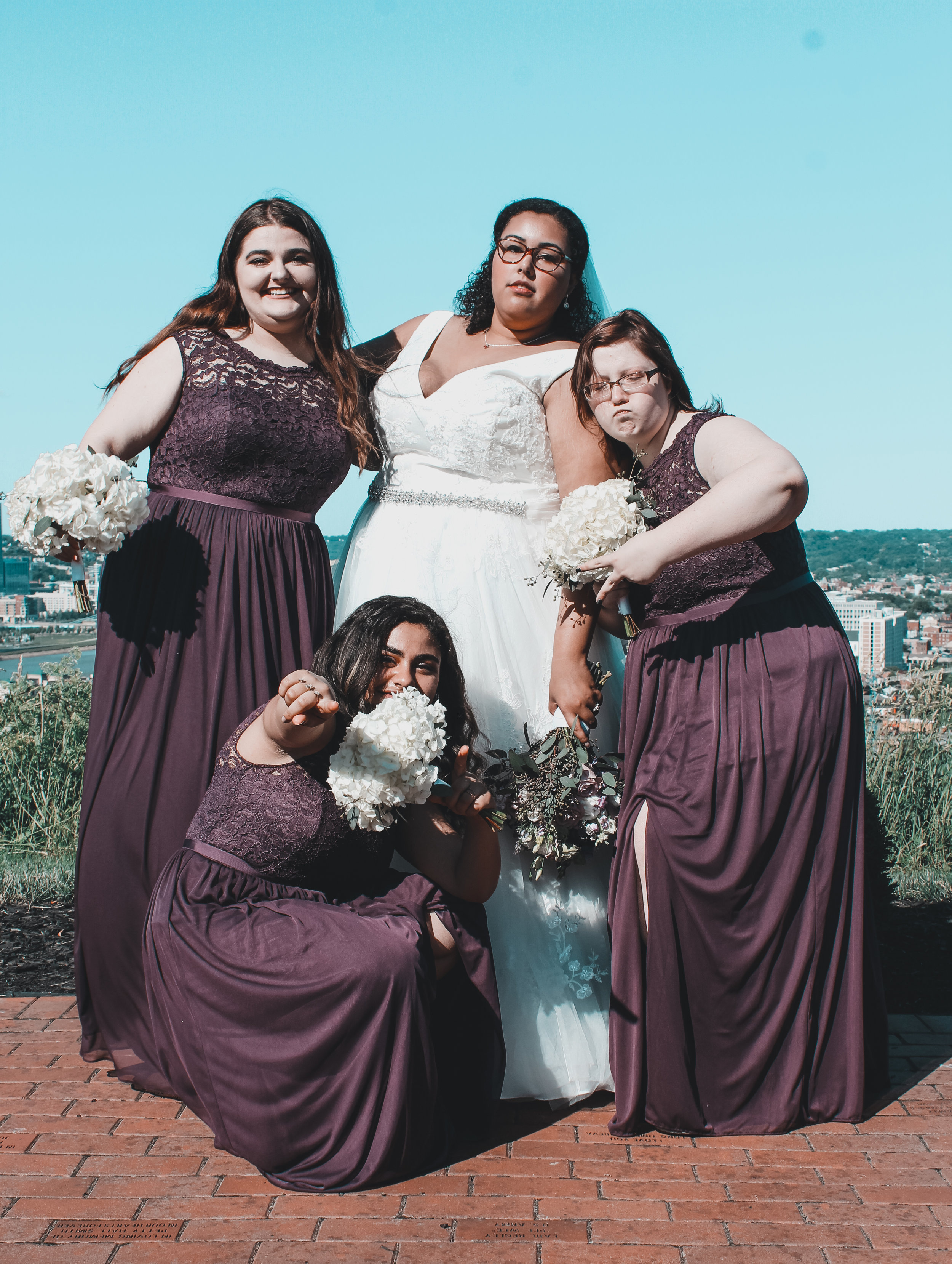 Corrie S. (Bride) and her bridesmaids